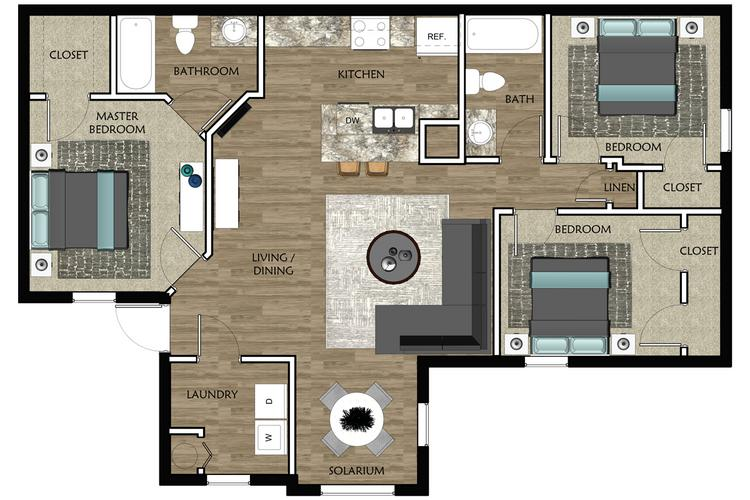 2D |  The Bay contains 3 bedrooms and 2 bathrooms in 1081 square feet of living space.