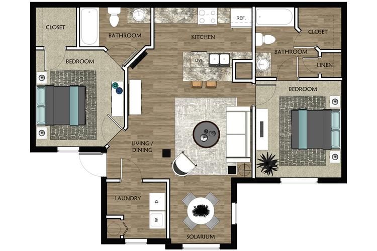 2D |  The Cove contains 2 bedrooms and 2 bathrooms in 962 square feet of living space.