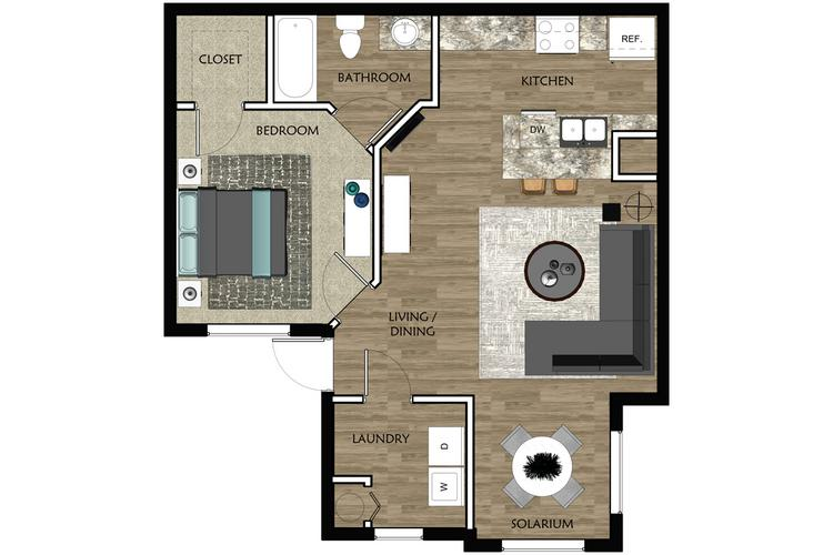 2D |  The Inlet contains 1 bedroom and 1 bathroom in 709 square feet of living space.
