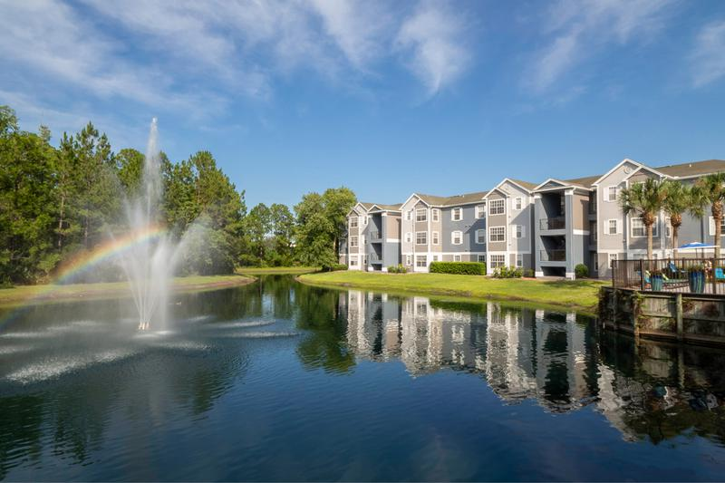 Fountain | Enjoy beautiful views of our lake with a fountain.