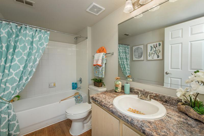 Bathroom | Updated bathrooms featuring wood-style flooring, large mirrors, and granite-style countertops.