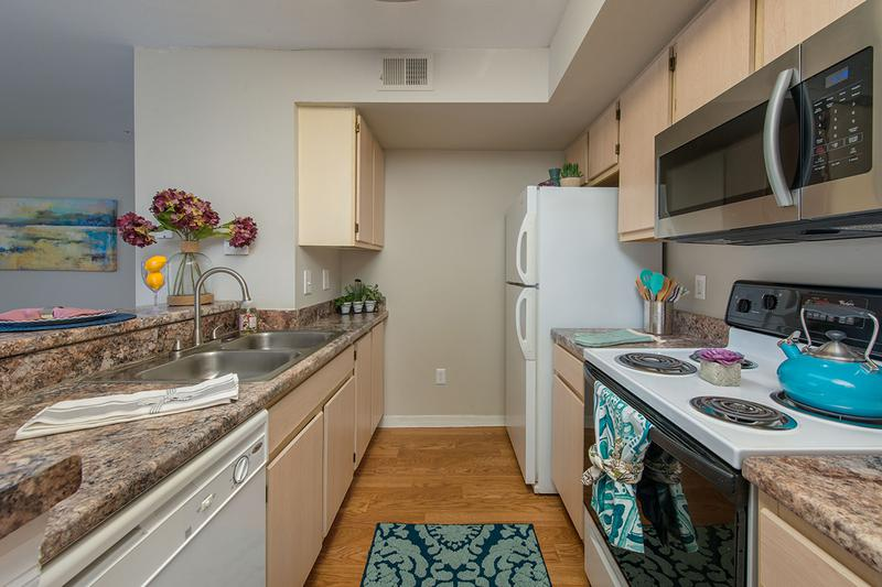 Galley Style Kitchens | Our galley style kitchens feature ample cabinet space.