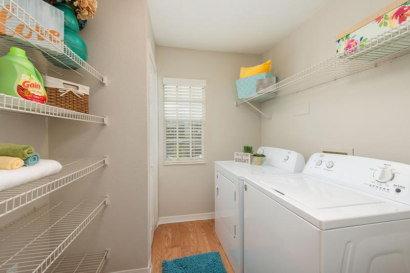 Laundry Room | All our apartment homes have walk-in laundry rooms with full size washer and dryer connections.