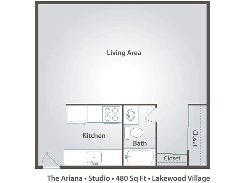 2D | The Ariana is a studio with 480 square feet of living space.
