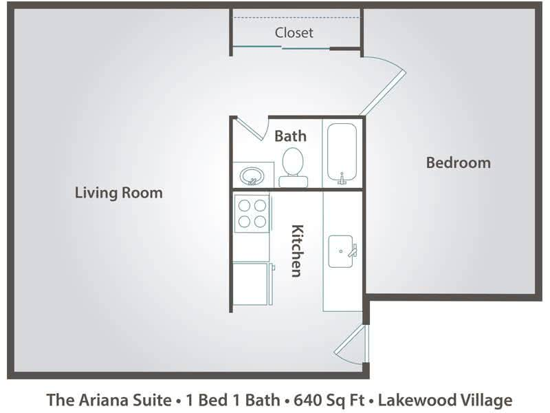 2D | The Ariana Suite contains 1 bedroom and 1 bathroom in 640 square feet of living space.