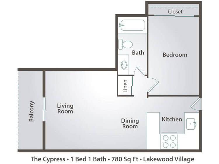 2D | The Cypress contains 1 bedroom and 1 bathroom in 780 square feet of living space.