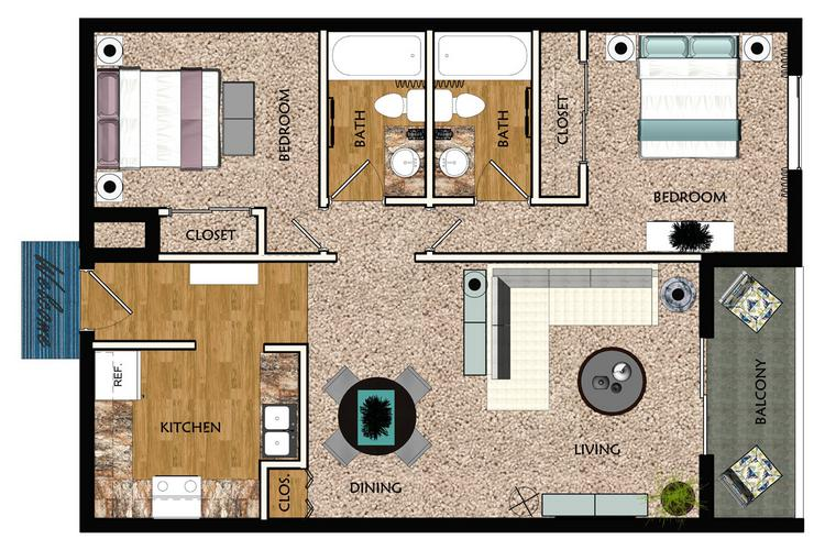 2D | The Kingsley contains 2 bedrooms and 2 bathrooms in 1000 square feet of living space.