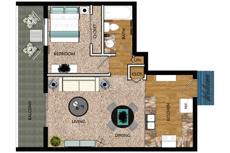 2D | The Marian contains 1 bedroom and 1 bathroom in 780 square feet of living space.