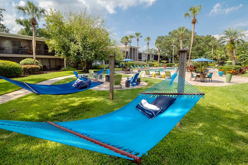 Hammock Garden | Lay back and relax in our hammock garden, located next to the fire pit.