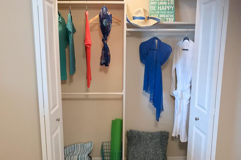 Bedroom Closets | Your new bedroom features a roomy closet, complete with built-in organizers for your convenience.
