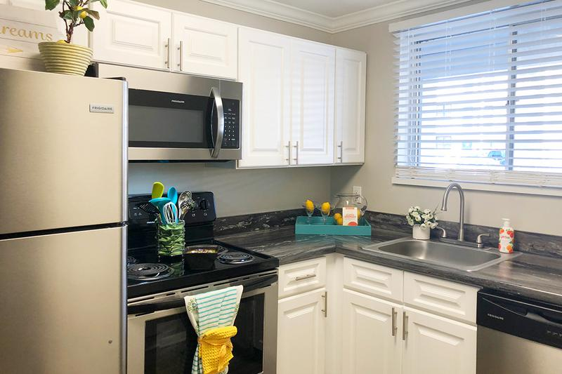 Stainless Steel Appliances | Newly renovated kitchens with white cabinetry, and stainless steel appliances are available.
