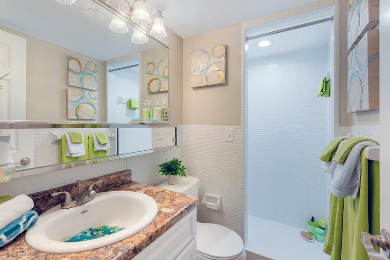 Walk-In Shower | Newly remodeled bathrooms featuring wood-style flooring, granite-style counters, large mirrors and a walk-in shower..