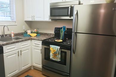 Stainless Steel Appliances | Newly renovated kitchens with white cabinetry, granite-style counter tops and stainless steel appliances are available.