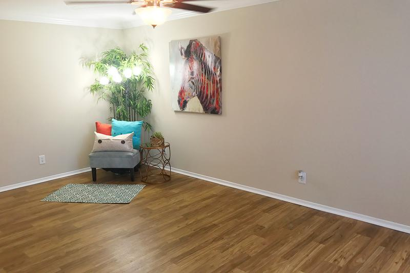 Studio Living Area | Our studio apartment homes feature spacious living areas with a ceiling fan.