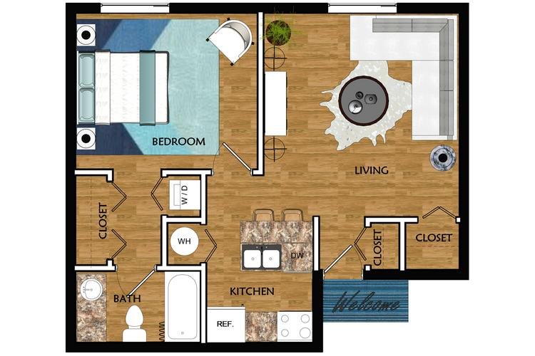 2D | The Alibi contains 1 bedroom and 1 bathroom in 565 square feet of living space.