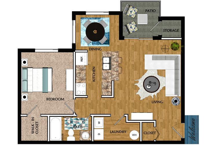 2D | The Baybreeze contains 1 bedroom and 1 bathroom in 752 square feet of living space.