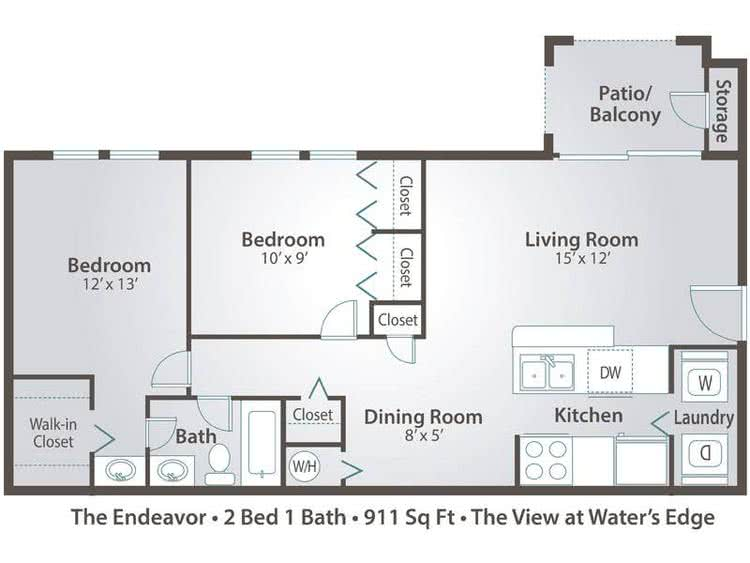 2D | The Endeavor contains 2 bedrooms and 1 bathrooms in 911 square feet of living space.