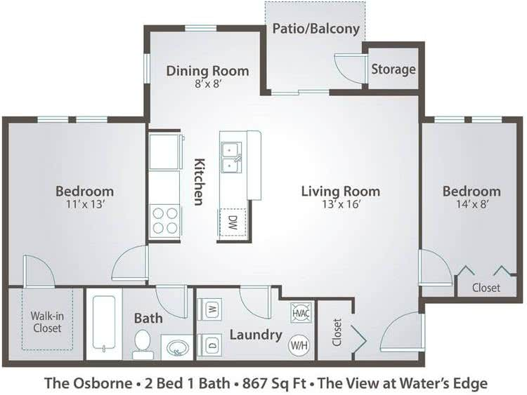 2D | The Osborne contains 2 bedrooms and 1 bathrooms in 867 square feet of living space.