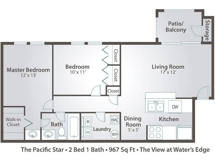 2D | The Pacific Star contains 2 bedrooms and 1 bathrooms in 967 square feet of living space.