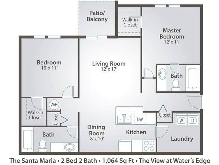 2D | The Santa Maria contains 2 bedrooms and 2 bathrooms in 1064 square feet of living space.