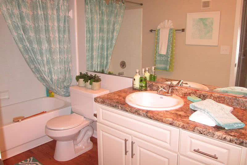Bathroom | Your spacious guest bathroom offers plenty of storage and privacy for guests.