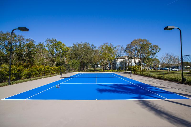 Tennis Courts | Get in a game at one of our two lighted tennis courts.