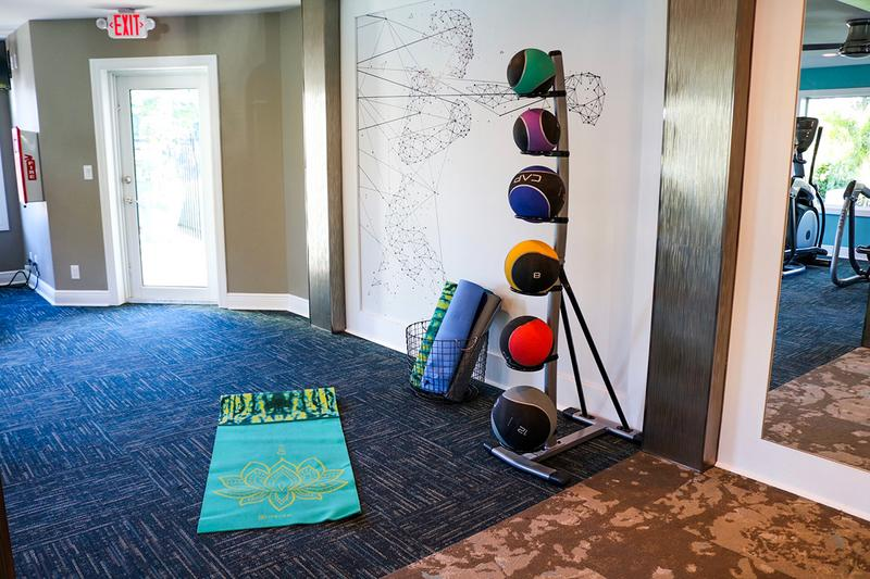 Fitness Center | Our fitness center has mats and weight balls for your use.