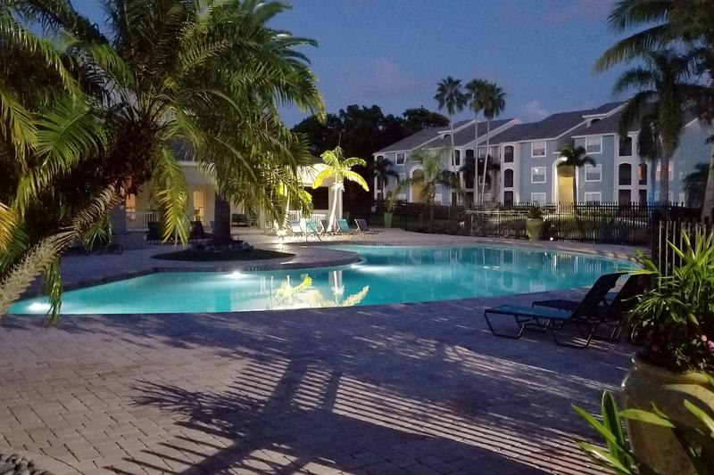 Pool at Night | Enjoy tranquil views of our pool area at night.