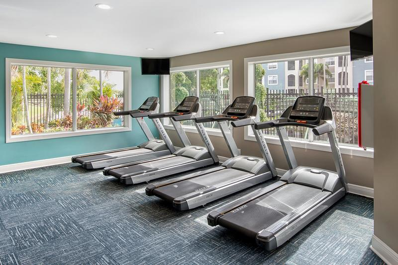 Fitness Center | Our resident fitness center includes all of the cardio and weight training equipment you'll need to get a full body workout.