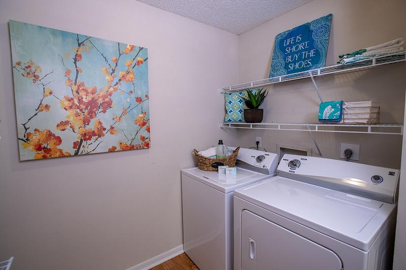 Laundry Area | Every apartment home is furnished with a washer and dryer.  No quarters needed for laundry in your own home.