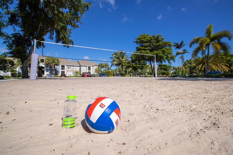 Sand Volleyball Court | Start a friendly game of volleyball with your neighbors on our beach-style sand volleyball court.