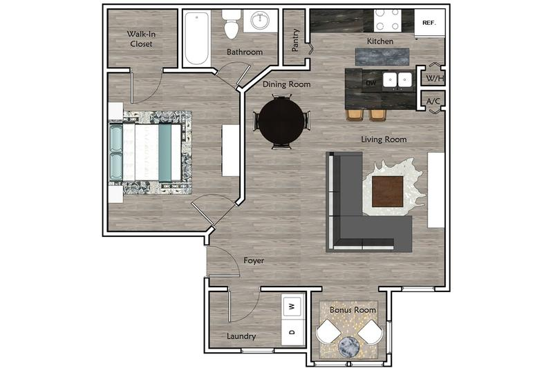 2D | The Caddy contains 1 bedroom and 1 bathroom in 770 square feet of living space.
