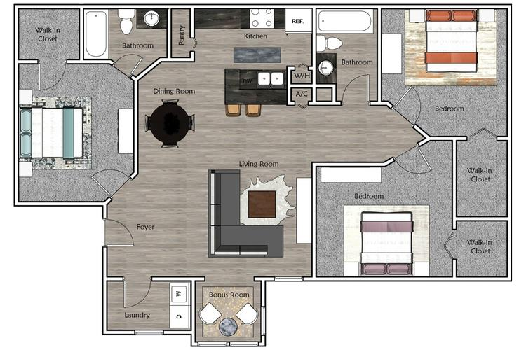 2D | The Fairway contains 3 bedrooms and 2 bathrooms in 1100 square feet of living space.