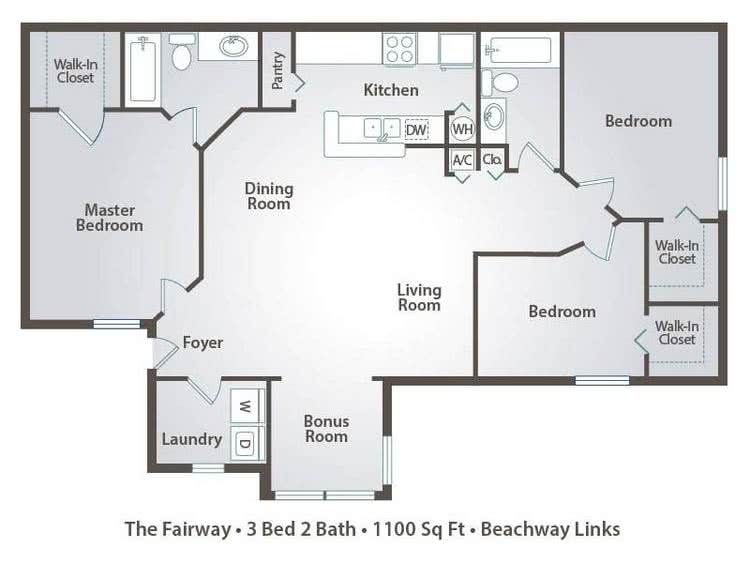 2D | The Fairway Contains 3 Bedrooms And 2 Bathrooms In 1100 Square Feet Of  Living