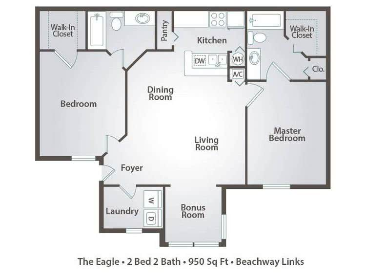 2D | The Eagle contains 2 bedrooms and 2 bathrooms in 950 square feet of living space.