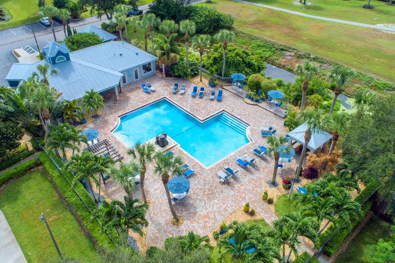 Aerial View of Pool | See a birds eye view of our beautiful pool area.