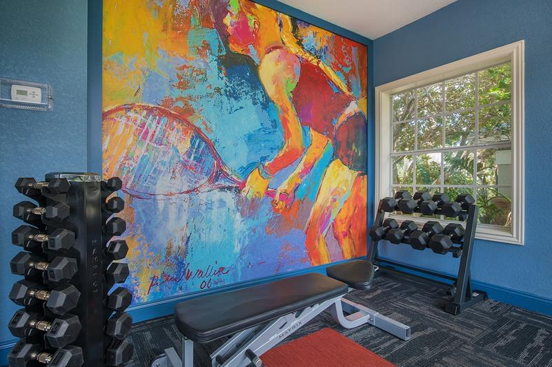 Weight Training Equipment | Our fitness center also features weight training equipment for a full body workout.