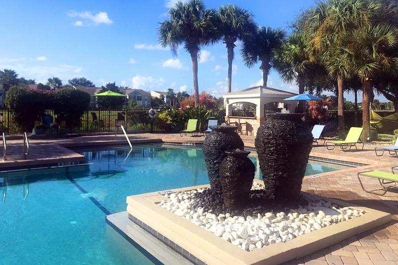 Fountain | Enjoy the tranquil sound of our water fountain next to the pool.