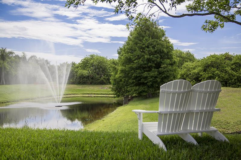 Fountain | Relax and take in beautiful pond views while watching our fountain.