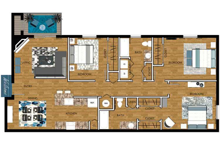2D | Chestnut Oak contains 3 bedrooms and 2 bathrooms in 1369 square feet of living space.