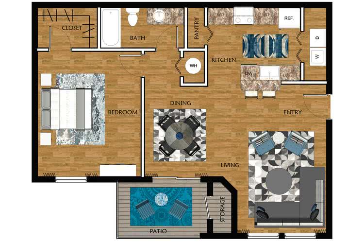 2D | Laurel Oak contains 1 bedroom and 1 bathroom in 808 square feet of living space.