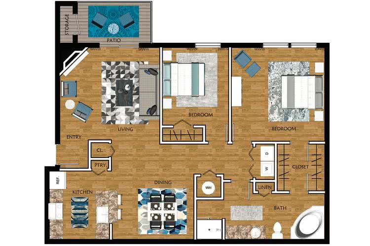 2D | Willow Oak contains 2 bedrooms and 1 bathrooms in 1179 square feet of living space.
