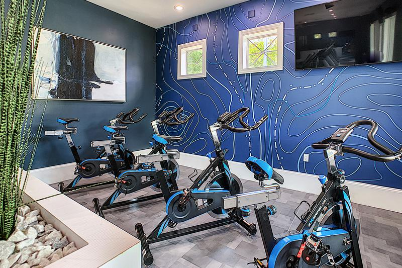 Spinning Bikes | Our fitness center also features spinning bikes.