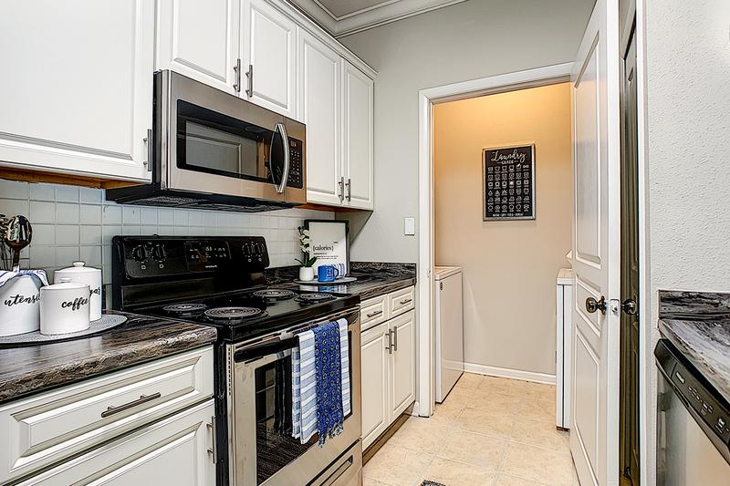 Stainless Steel Appliances | Your newly renovated kitchens feature stainless steel appliances and your very own laundry room.