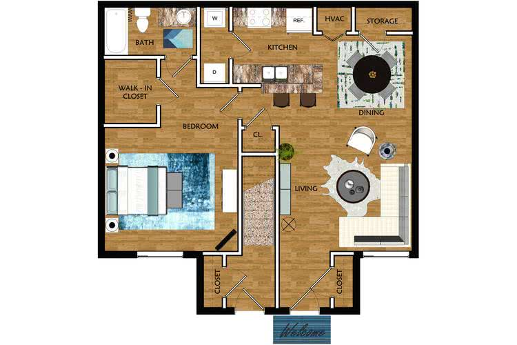 2D | The Ascot contains 1 bedroom and 1 bathroom in 719 square feet of living space.