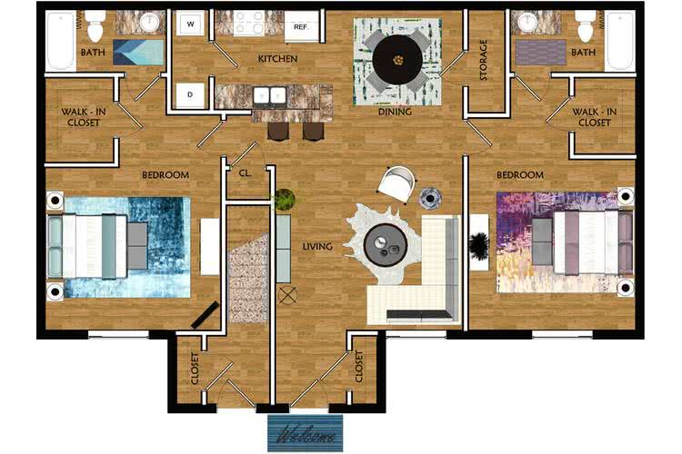 2D | The Barclay contains 2 bedrooms and 2 bathrooms in 1070 square feet of living space.