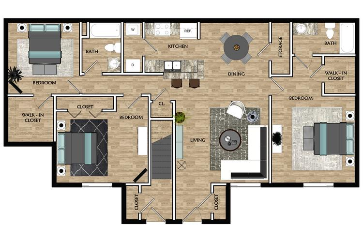 2D | The Camelot contains 3 bedrooms and 2 bathrooms in 1237 square feet of living space.