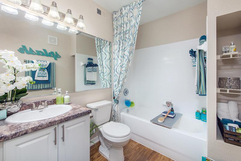 Updated Bathrooms | Newly renovated bathrooms featuring wood-style flooring, granite-style counter tops and large mirrors.