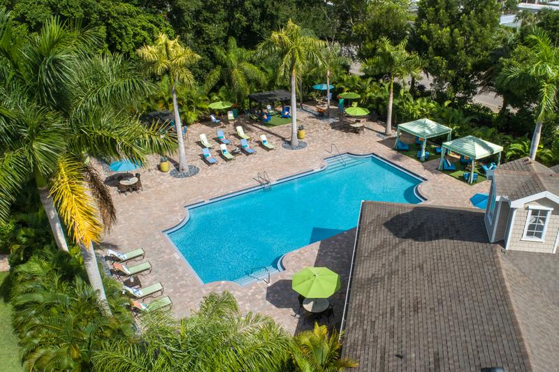Pool Area | Aerial view of our resort-style pool and expansive sundeck.