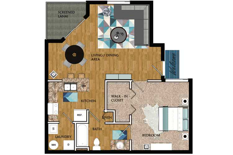 2D | Newport contains 1 bedroom and 1 bathroom in 746 square feet of living space.